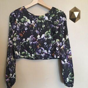 Sam & Lavi Floral Printed Satin Crop Top Size XS